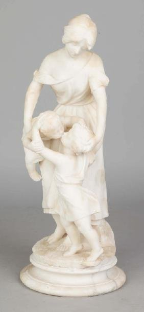 Alabaster Sculpture of A Mother and Two Children