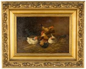 Painting of Rooster and Chickens, Late 19th  Century