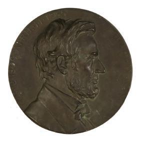 Cast Bronze Plaque of Abraham Lincoln