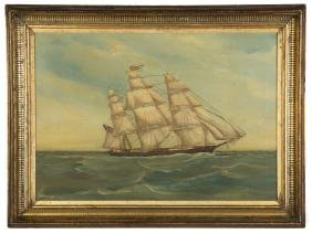 Clipper Ship Lucile with an American Flag