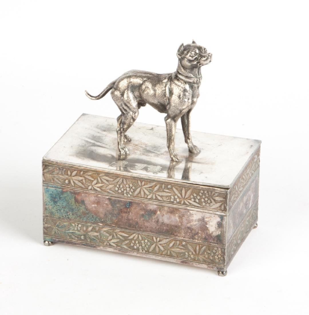 Meriden Silver Plate Box with Dog