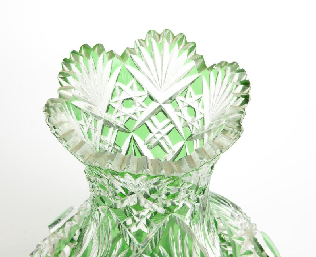 Green Overlay Cut Glass Vase - 2