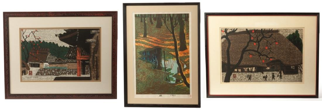 Two Kiyoshi Saito & One Shiro Kasamatsu Woodblock Print
