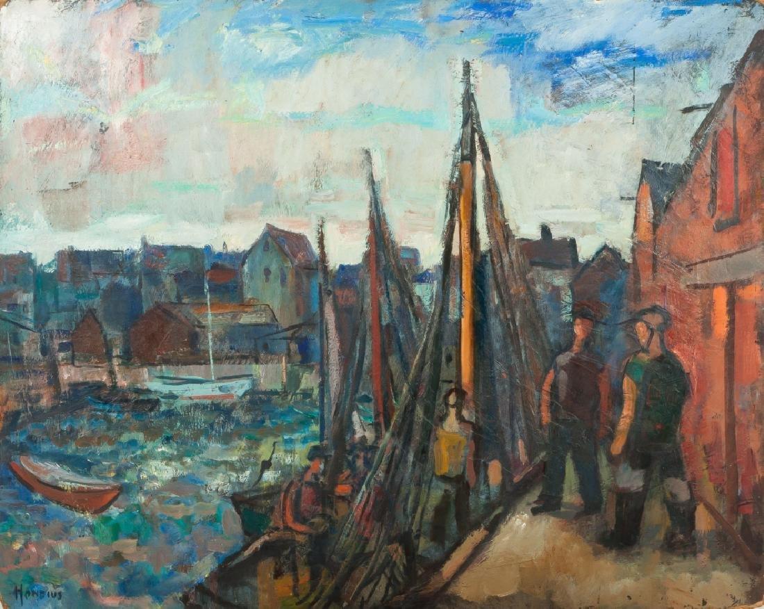 "Gerrit Hondius (American, 1891-1970) ""Fishing Village"""