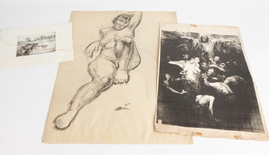 Various Etchings and drawing by George A. Renouard - 4