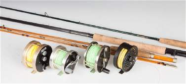 Four Fishing Reels & Four Fly Rods, incl. S.E. Bogdan