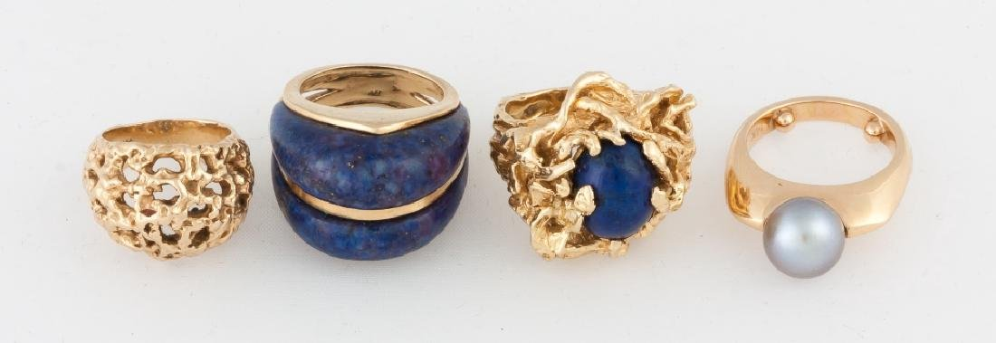 Group of Four Gold Rings with Lapis and Pearl