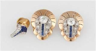 Diamond Earrings and Lapel Pin