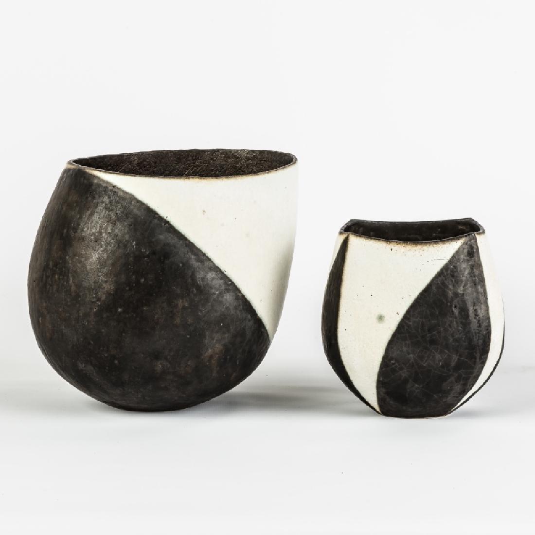 John Ward (English, B. 1938) Two Black and White Vases