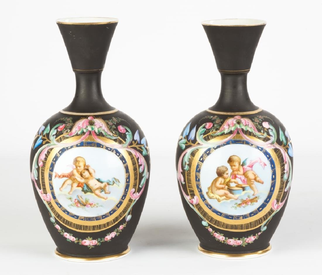 Pair of Hand Painted and Enameled Porcelain Vases