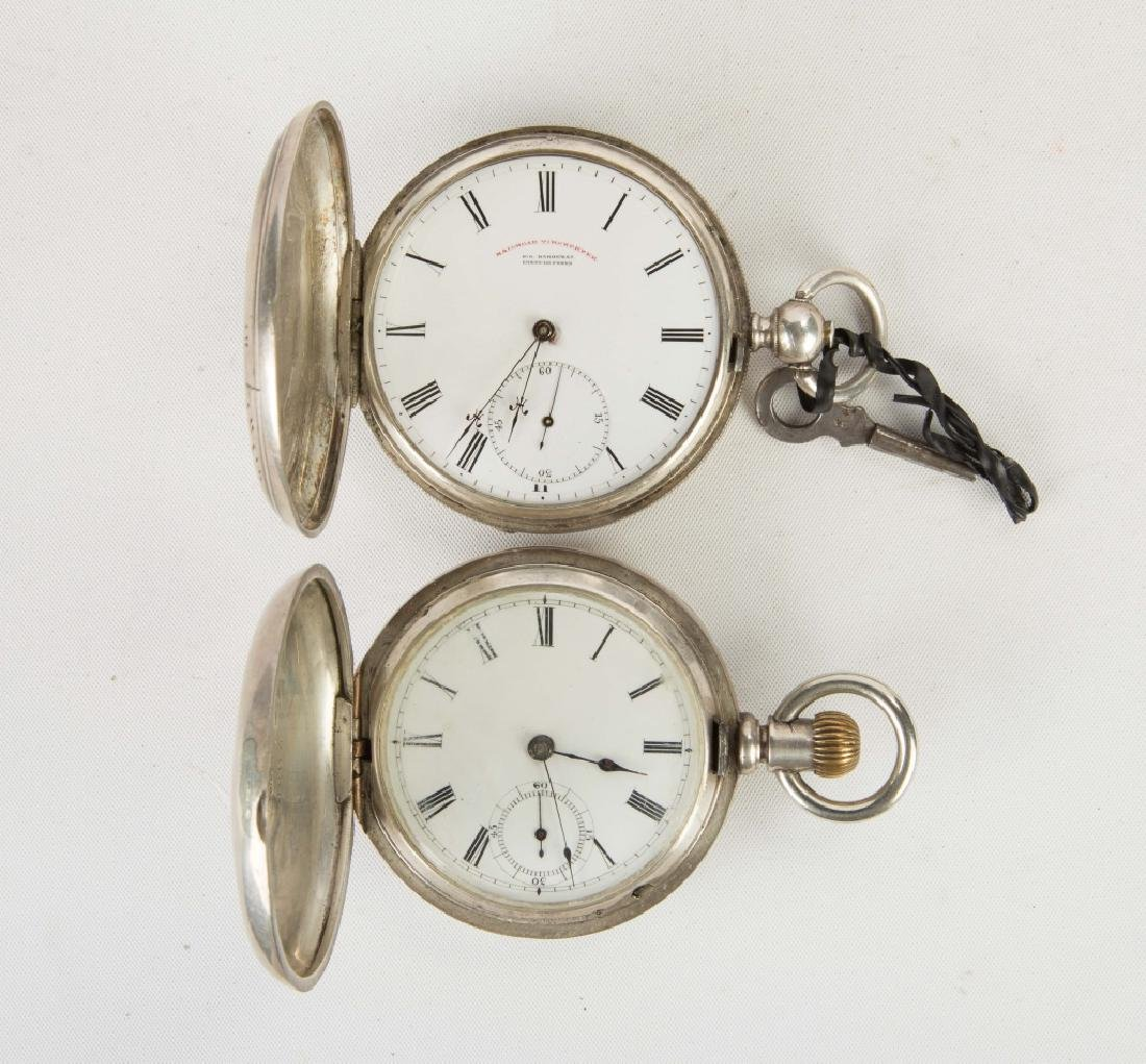 Two Key Wind Silver Pocket Watches