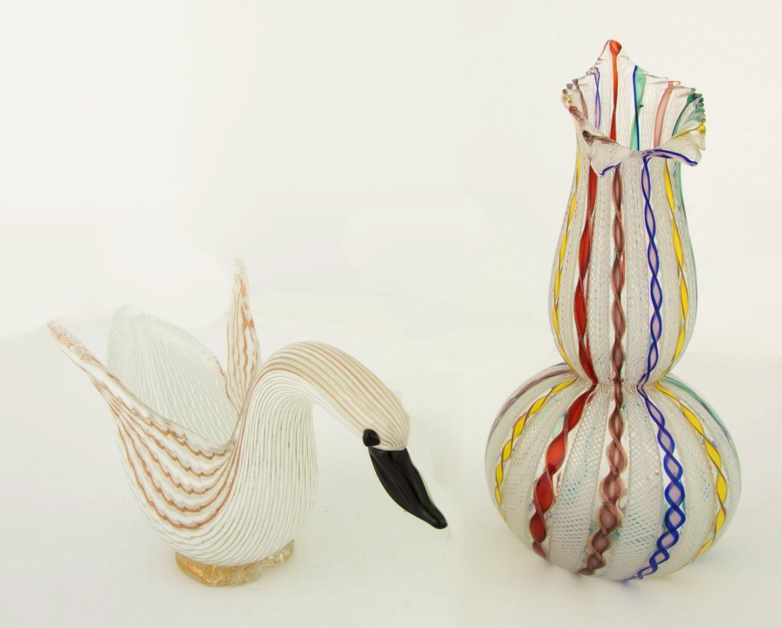 Dino Martens Figural Swan Mezza Filigrana and Mezza Fil