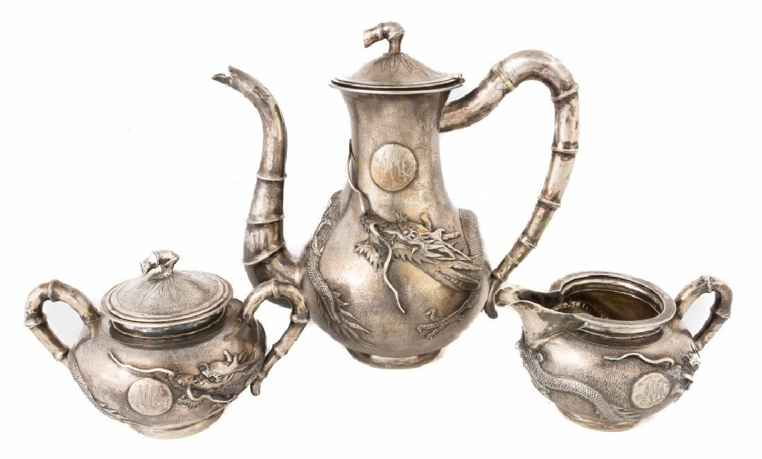 Chinese Export Sterling Silver Three Piece Teaset