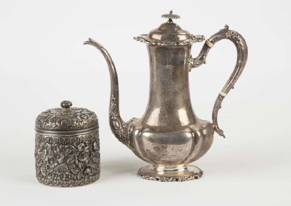 Sterling Silver Jar and Chocolate Pot