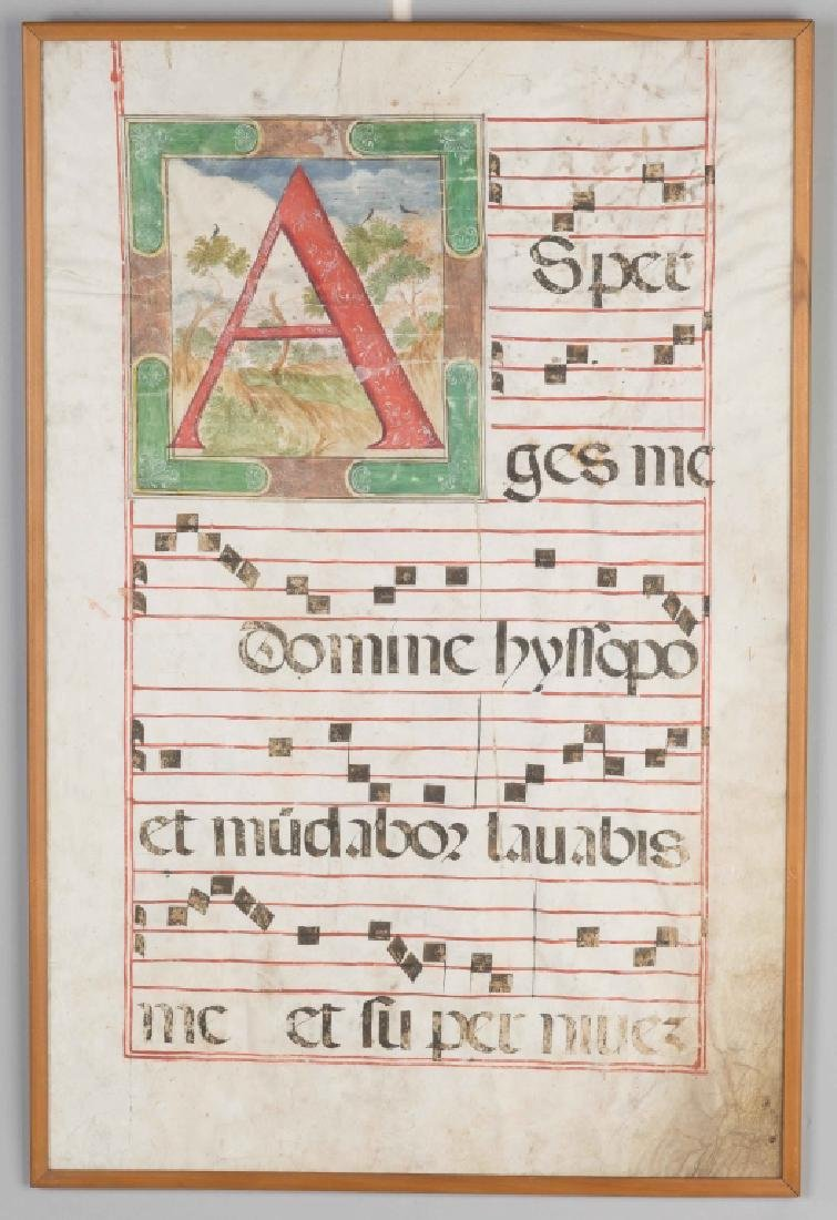 Early Illuminated Hand Colored Musical Note Pages