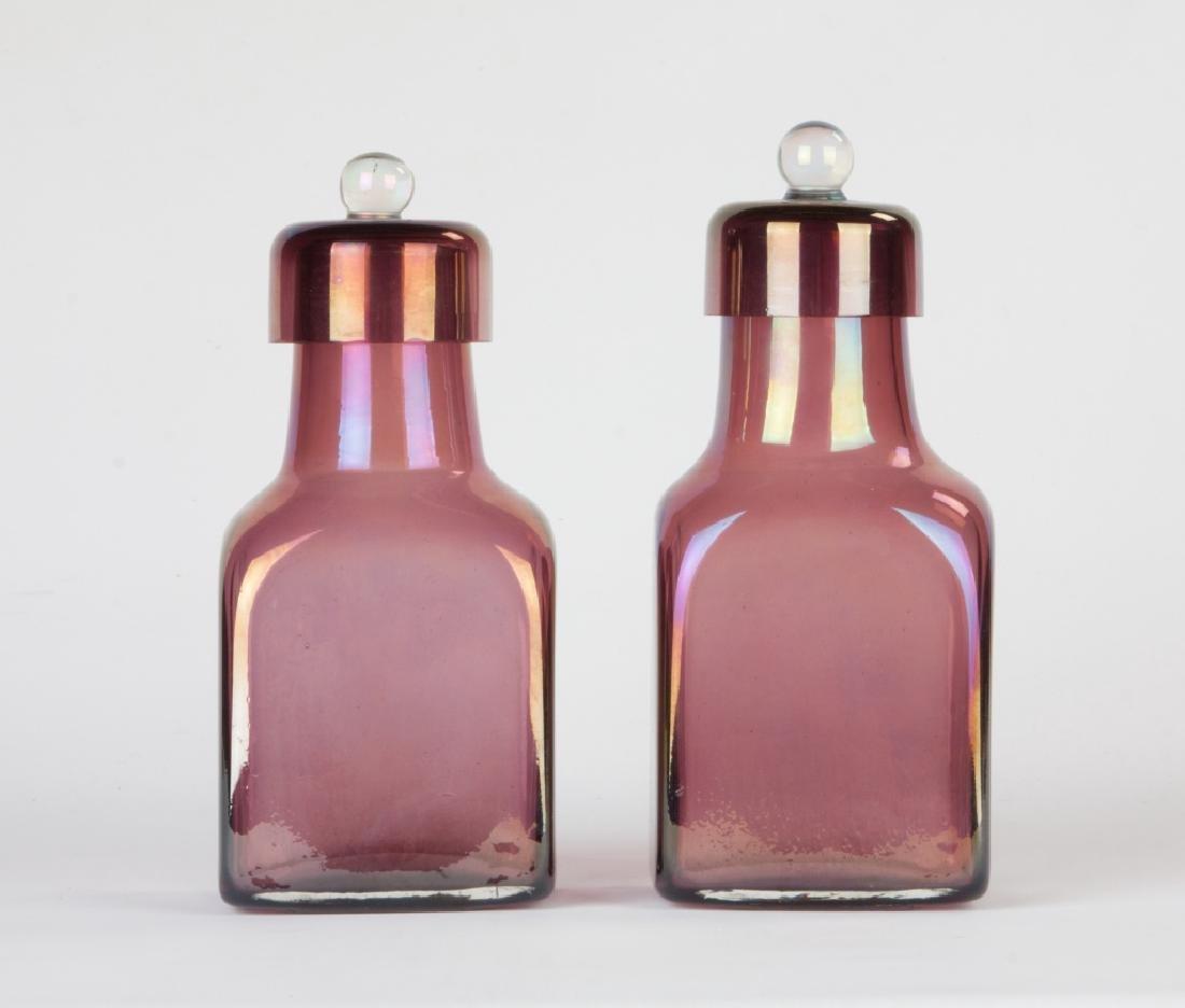 Barovier & Toso Pair of Iridescent Bottles