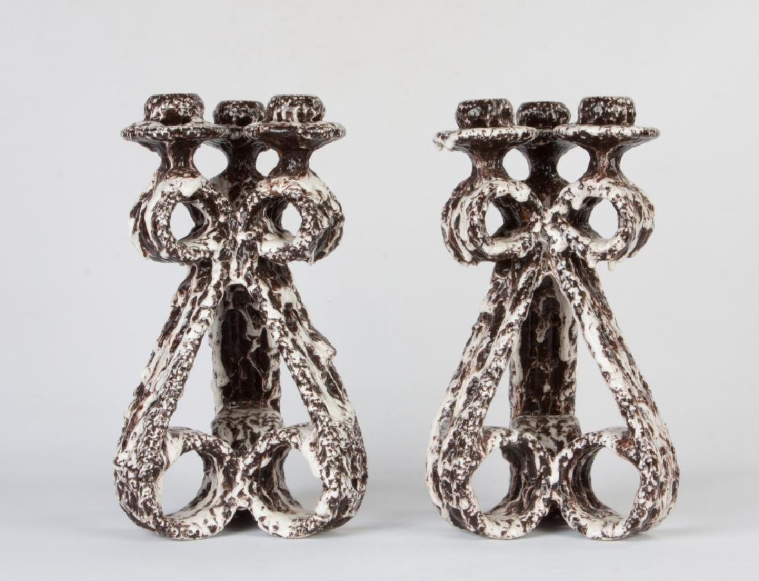 Pair of Lava Glaze Ceramic Vallauris Candelabras by