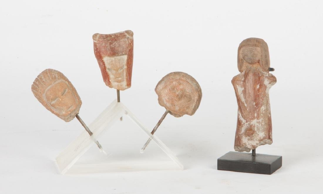 Group of Pre-Columbian Ceramic Heads & Figure