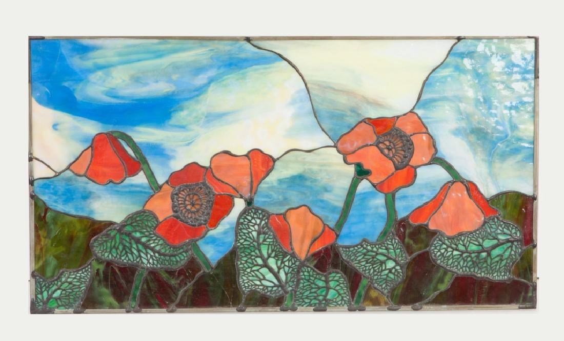 Leaded Glass Panel with Poppies