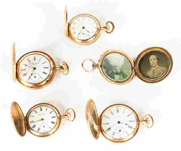 Group of Four Gold Pocket Watches & Gold Picture Holder
