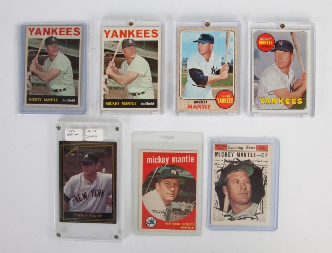 Group of Seven Topps & Investor's Journal Mickey Mantle