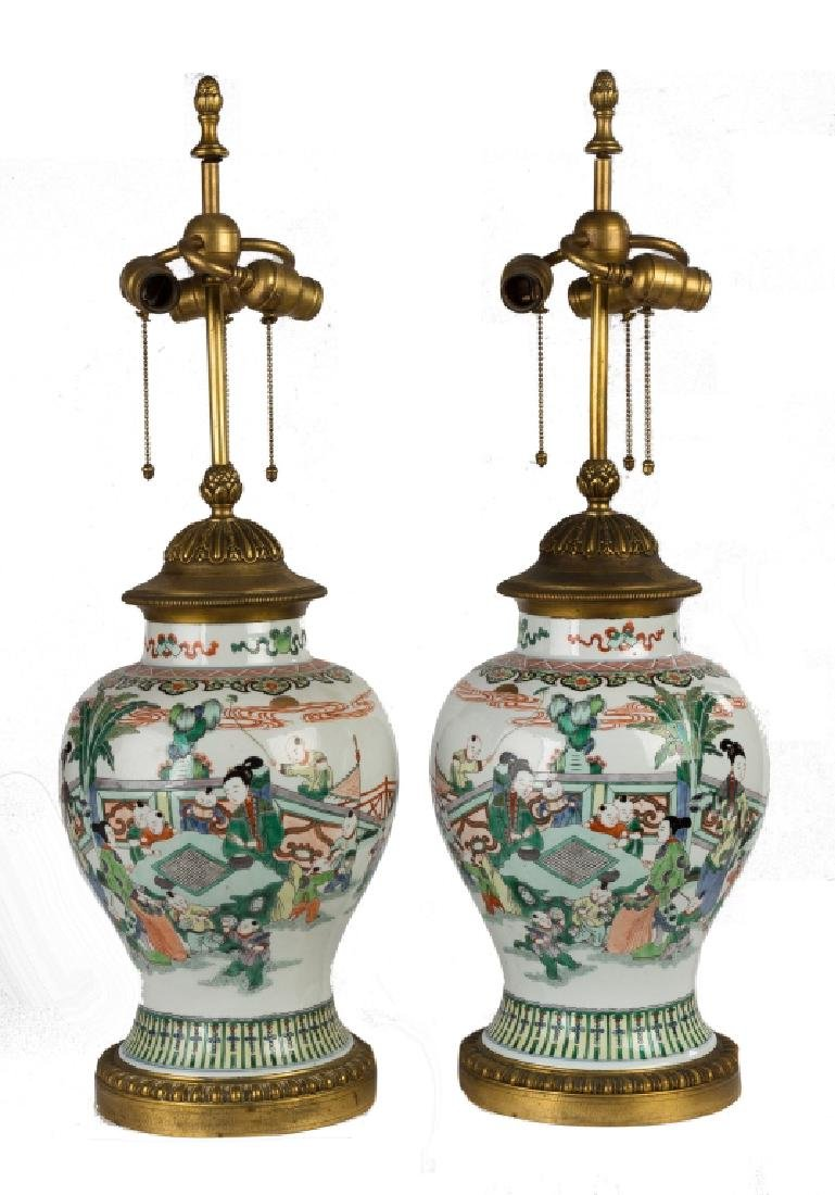 Pair of Chinese Painted Porcelain Vases