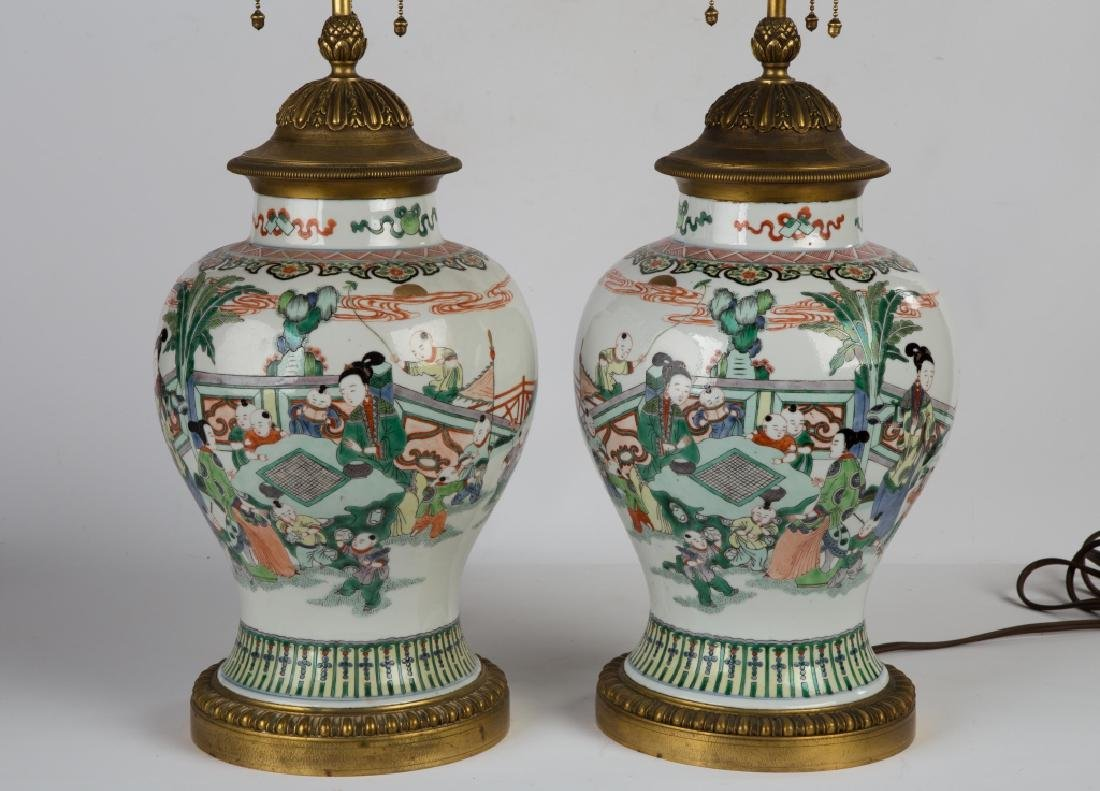 Pair of Chinese Painted Porcelain Vases - 2