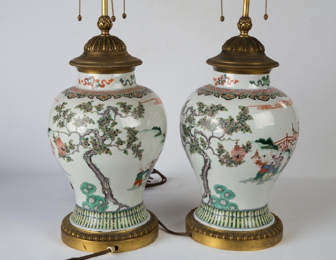 Pair of Chinese Painted Porcelain Vases - 3