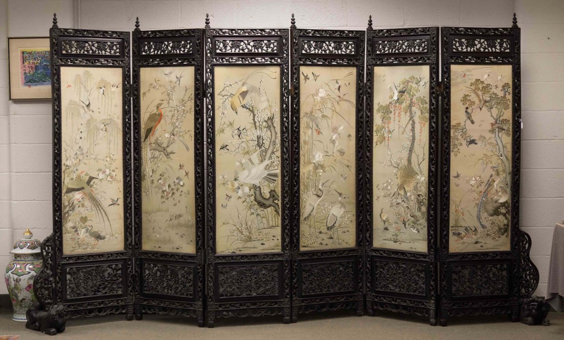 Chinese Carved Hardwood and Silk Six Panel Screen