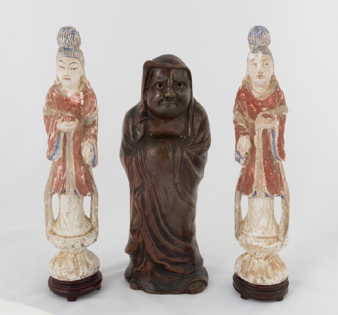 Pair of Carved Chinese Goddess Figures and Japanese