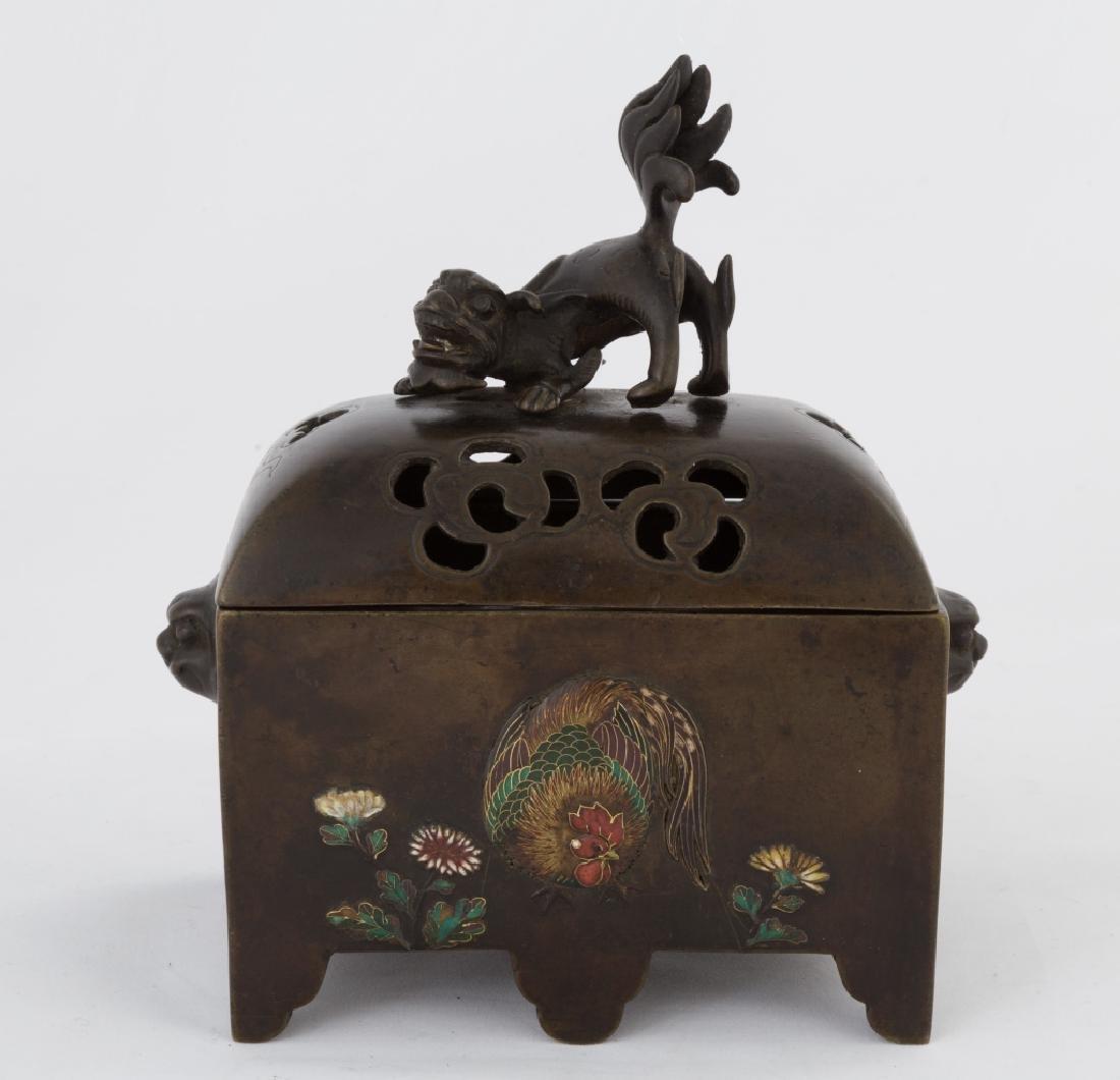 Japanese Bronze and Enameled Incense Burner