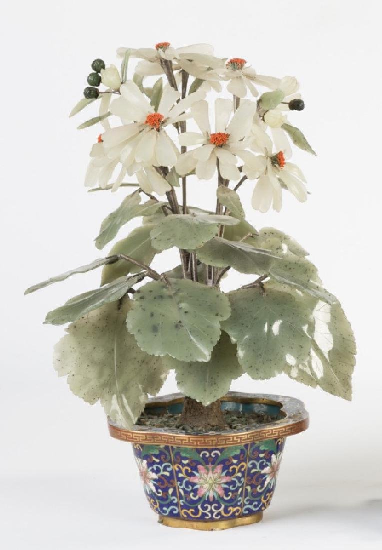 Jade and Hard Stone Flower in Cloisonné Pot