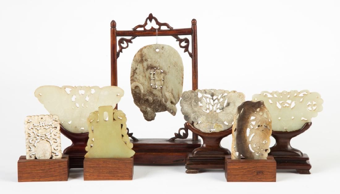 Seven Chinese Carved Jade Pendants and Carvings