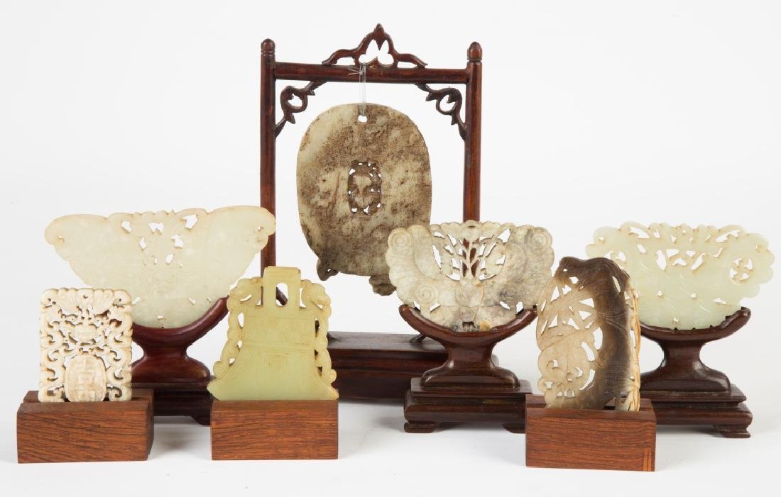 Seven Chinese Carved Jade Pendants and Carvings - 2