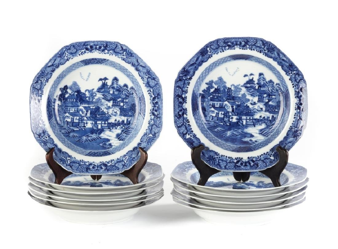 Chinese Export Canton Blue and White Porcelain Soup