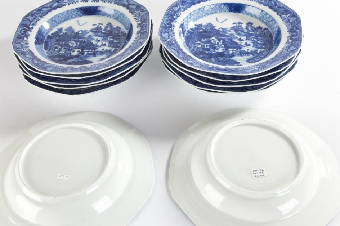 Chinese Export Canton Blue and White Porcelain Soup - 2
