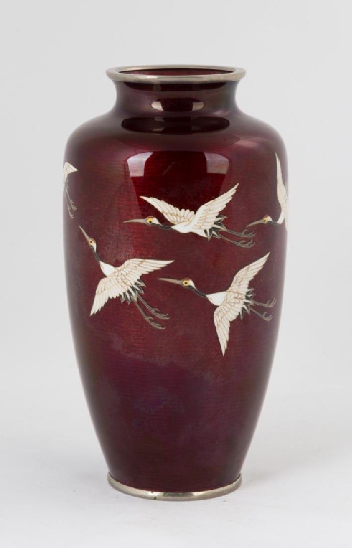 Japanese Cloisonné Silver Mounted Vase with Cranes