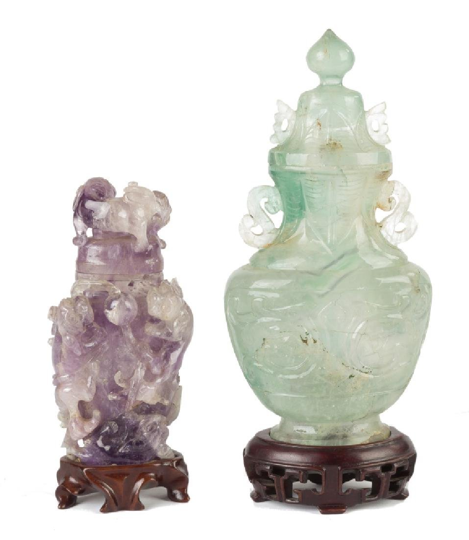 Chinese Rock Crystal Covered Urns