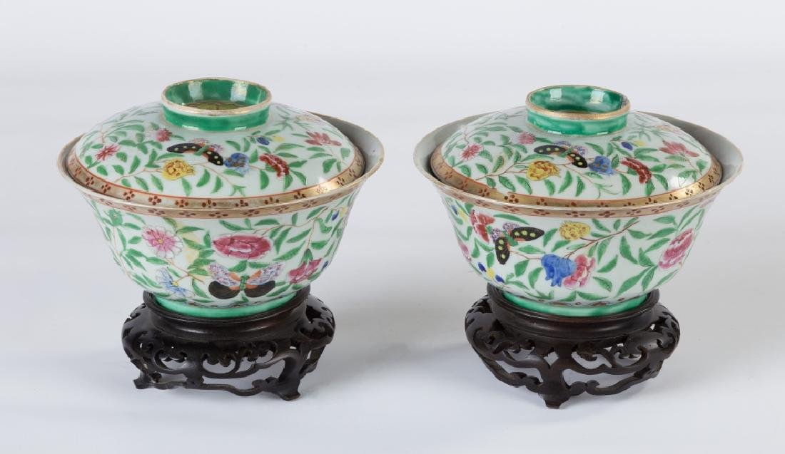 Pair of Chinese Covered Porcelain Bowls