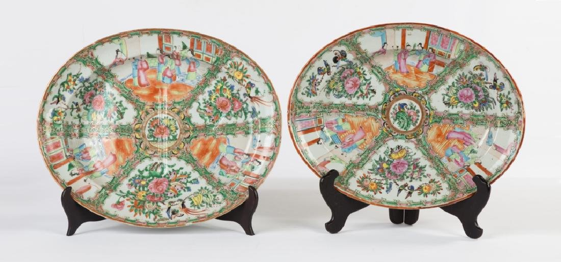 Two Chinese Export Rose Medallion Platters