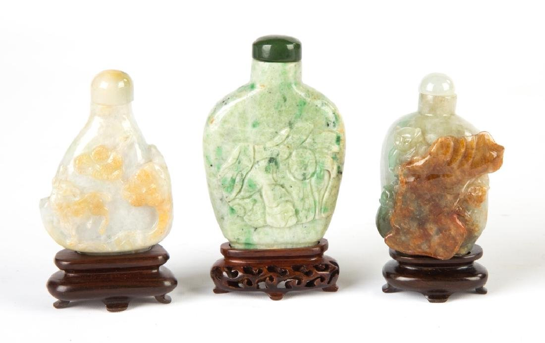Three Chinese Carved Jade Snuff Bottles