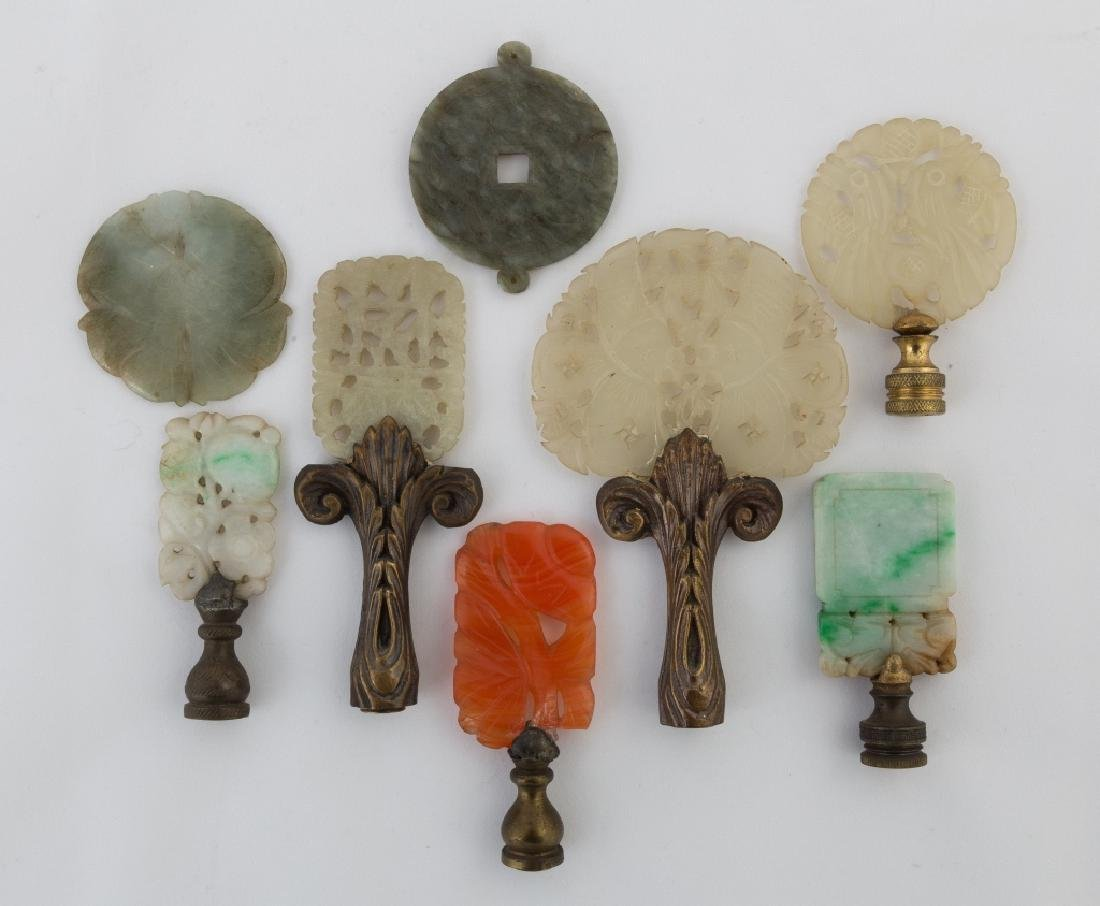 Group of Chinese Carved Jade Pendants and Finials