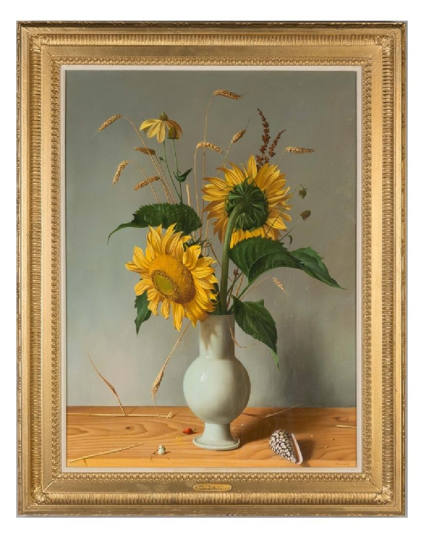 """Fernand Renard (French, born 1912) """"Sunflowers in a"""