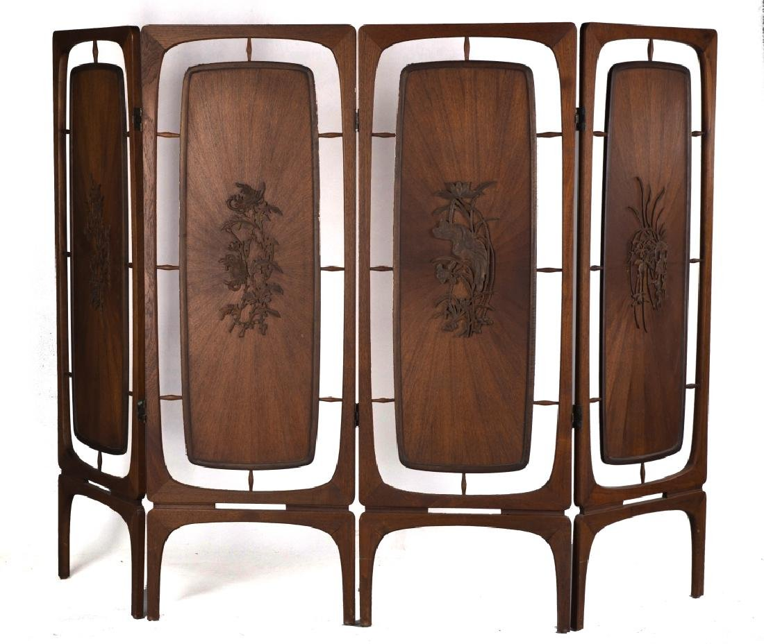 Mid-Century Teakwood Folding Screen