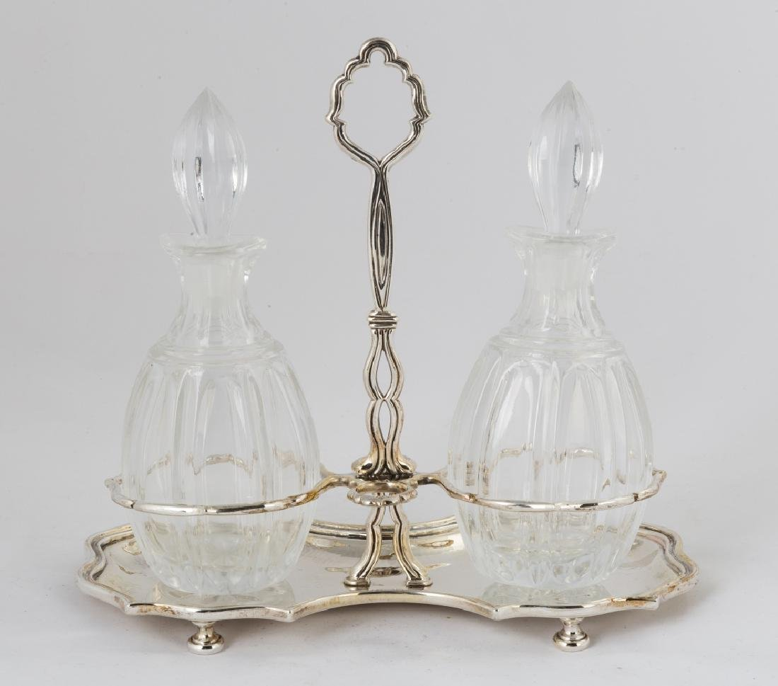 Buccellati Sterling Silver and Cut Glass Cruet Set