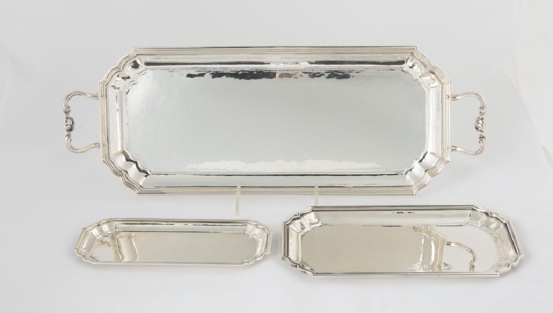 Three Buccellati Sterling Silver Rectangular  Trays