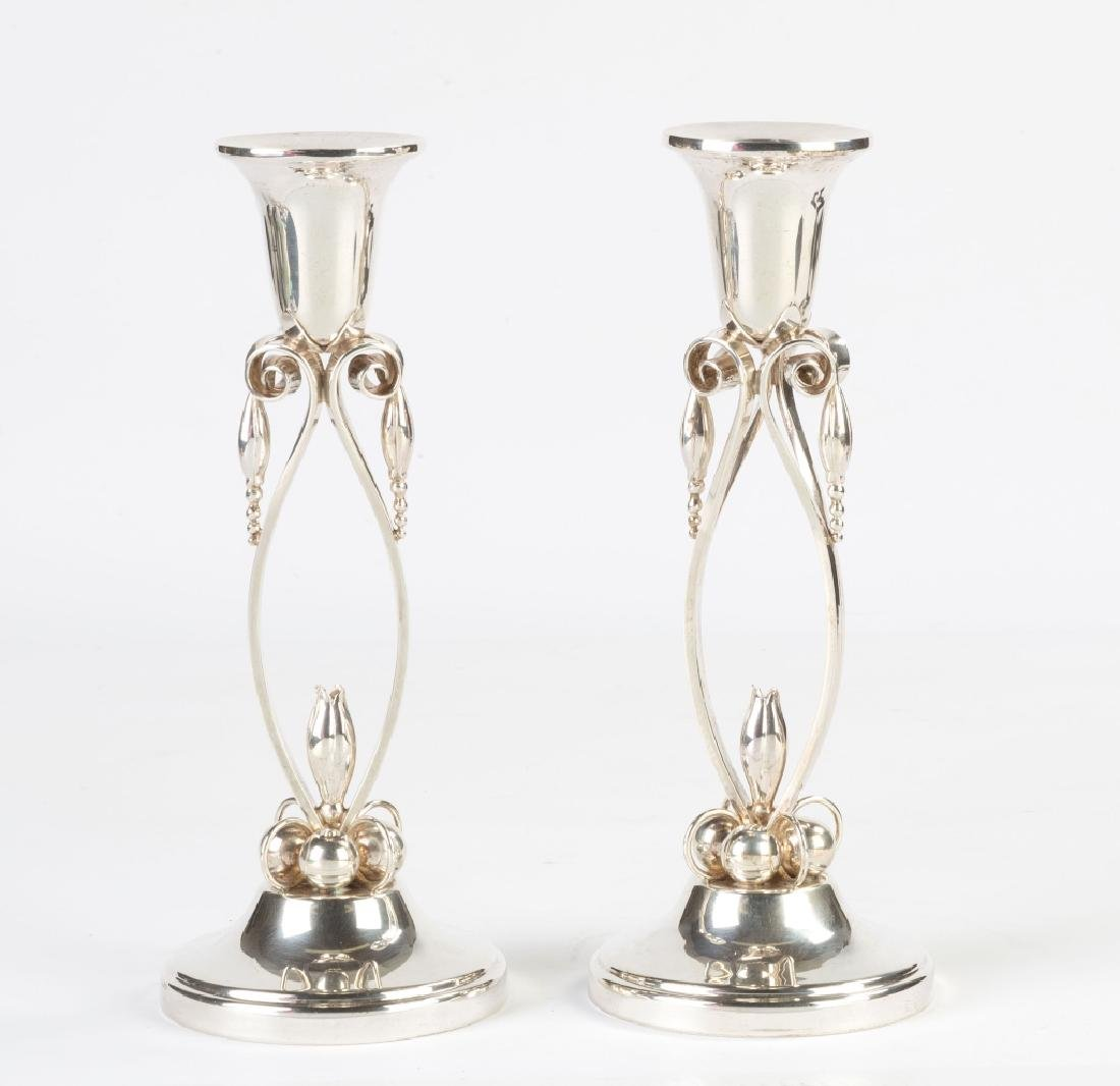 Style of Georg Jensen Sterling Silver Candlesticks