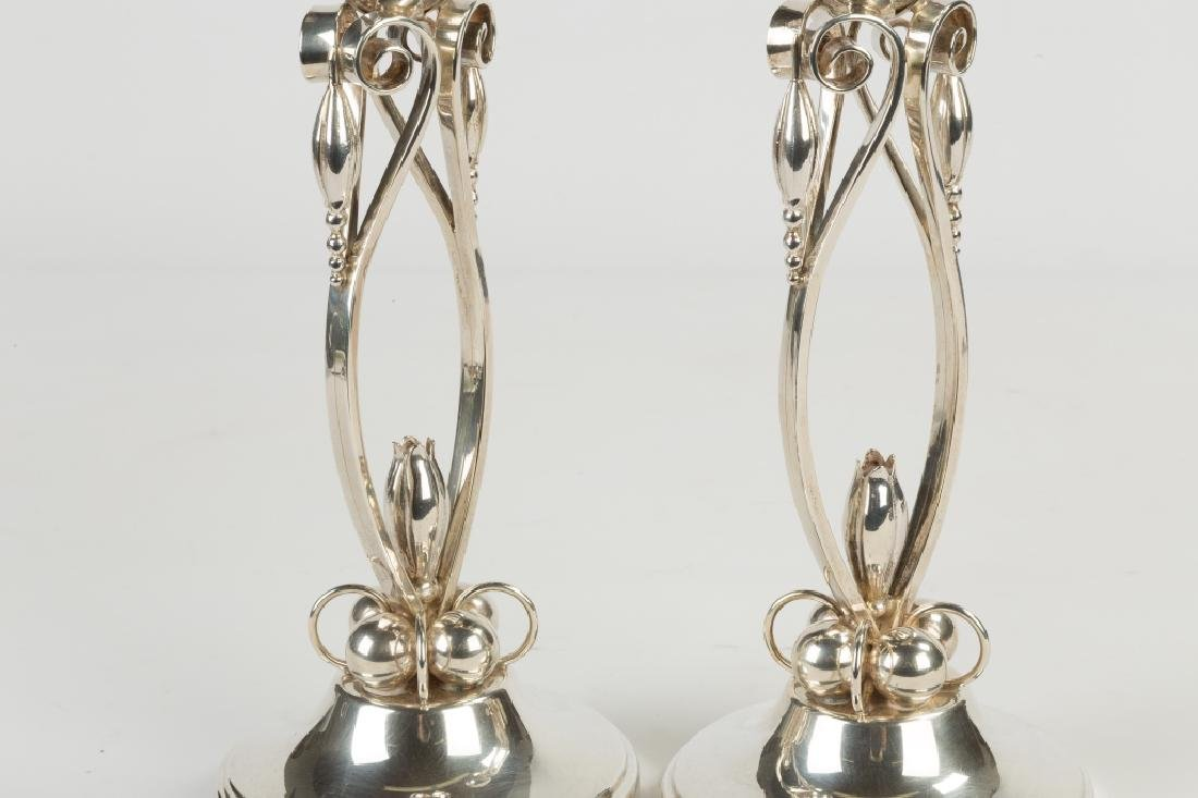 Style of Georg Jensen Sterling Silver Candlesticks - 2