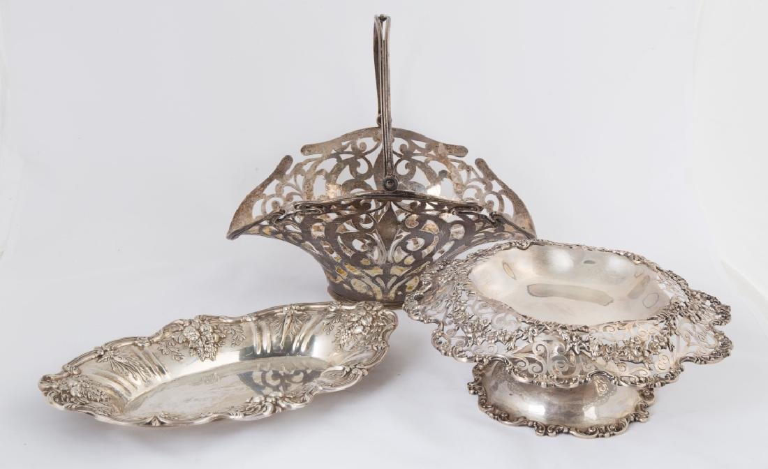 Sterling Silver Serving Pieces and a Basket