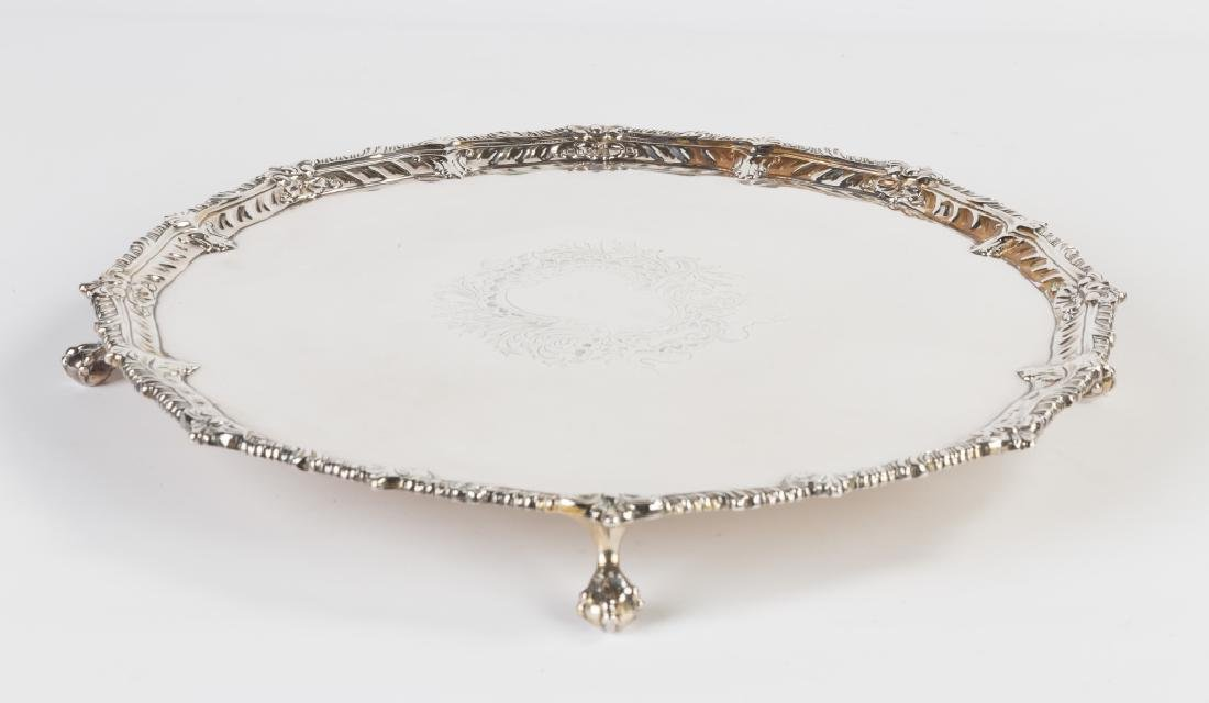 Sterling Silver Salver with Gadrooned Border and Claw